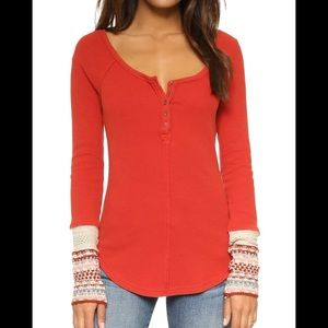 Free People Thermal Henley with Decorative Cuffs